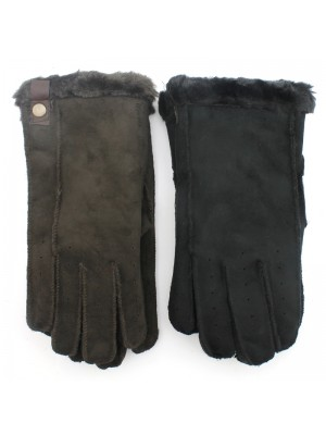 Men's Suede Gloves With Fur - Assorted Colours & Sizes