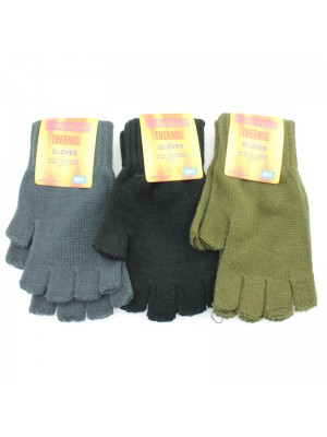 Men's Thermal Fingerless Gloves - Assorted Colours