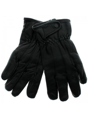 Mens Black Leather Touch Screen Gloves - Assorted Sizes