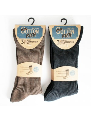 Men's Cotton Rich Light Elasticated Top Socks Size 7-11