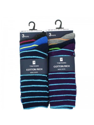 Mens Cotton Rich Striped Socks - Assorted Colours UK 7-11