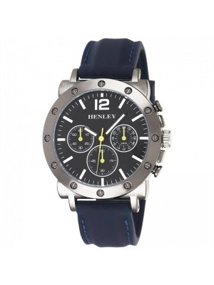 Wholesale Mens Henley 3 Dial Silicon Sports Watch - Blue