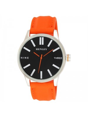 Wholesale Mens Henley Bold Summer Silicone Strap Watch - Orange/Black