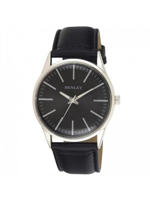 Wholesale Mens Henley Classic Index Watch With Leather Strap - Black/Silver