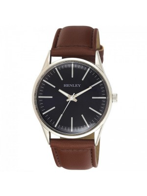 Wholesale Mens Henley Classic Index Watch With Leather Strap - Brown/Silver
