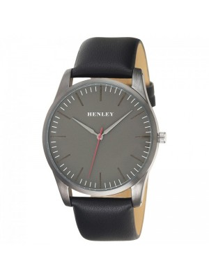 Wholesale Mens Henley Classic Minimal Index Watch With Leather Strap - Black