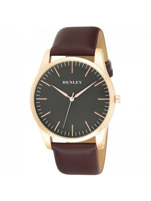 Wholesale Mens Henley Classic Minimal Index Watch With Leather Strap - Brown/Gold