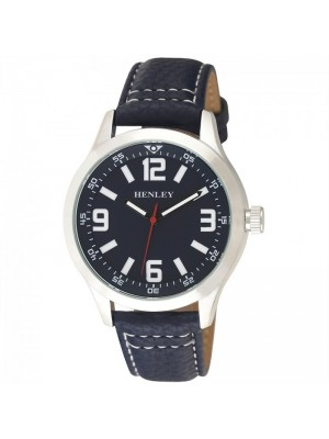 Wholesale Mens Henley Classic Stitched Watch With Faux Leather Strap - Blue