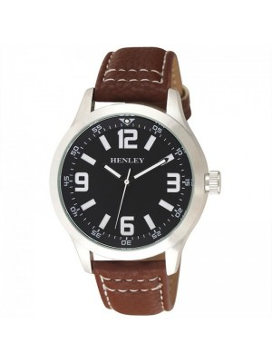 Wholesale Mens Henley Classic Stitched Watch With Faux Leather Strap - Brown