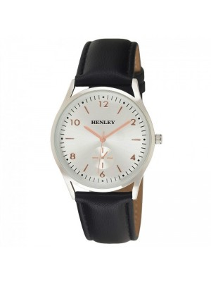 Wholesale Mens Henley Classic Sub-Dial Watch with Leather Strap - Black/Silver