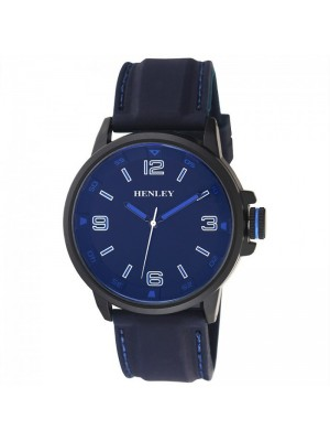 Wholesale Mens Henley Coloured Crown Silicon Sports Watch - Blue