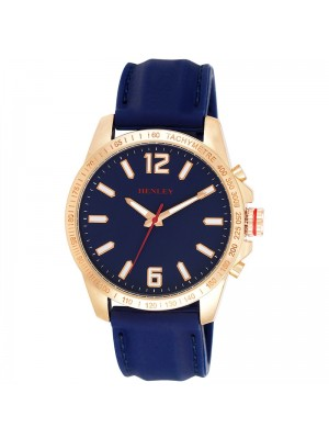 Wholesale Mens Henley Lazer Cut Bezel Silicone Strap Watch - Blue/Gold