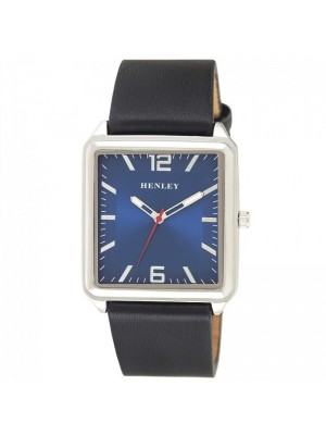 Wholesale Mens Henley Minimal Rectangular Leather Strap Fashion Watch - Black/Blue