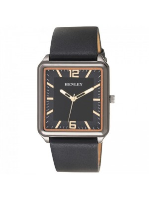 Wholesale Mens Henley Minimal Rectangular Leather Strap Fashion Watch - Black/Rose Gold