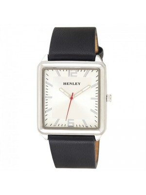Wholesale Mens Henley Minimal Rectangular Leather Strap Fashion Watch - Black/White