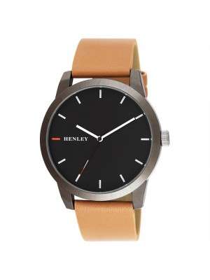 Wholesale Mens Henley Triple Colour Pointer Leather Strap Watch - Brown