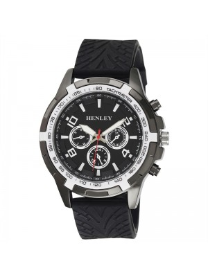 Wholesale Mens Henley White Topped Sports Silicone Strap Watch - Black