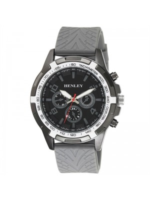 Wholesale Mens Henley White Topped Sports Silicone Strap Watch - Grey