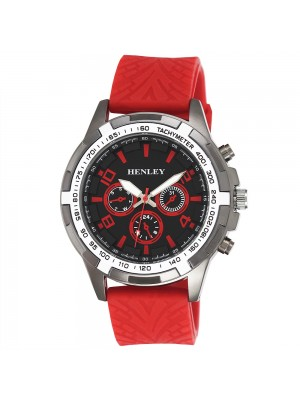 Wholesale Mens Henley White Topped Sports Silicone Strap Watch - Red