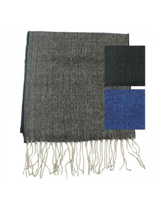 Mens herringbone scarf with tassles - assorted colours