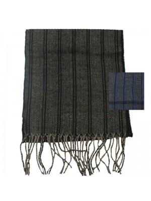 Mens Herringbone Striped Wool Scarf - Assorted Colours