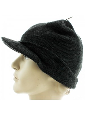 Mens Plain Knitted Peak Hat - Assorted Colours