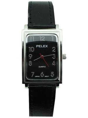Wholesale Mens Pelex Rectangular Dial Leather Strap Watch - Black & Silver