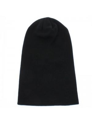 Mens Plain Long Beanie Hat - Black