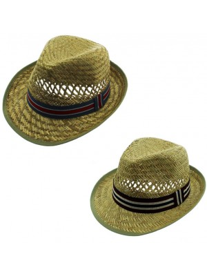 Wholesale Men's Straw Trilby Hat With Stripe Ribbon Band - Assorted Colours