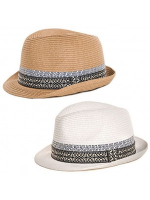 Adults Straw Trilby With Detail Band - Asst. Colour & Sizes