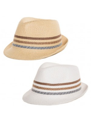 Adults Straw Trilby With Three Stripe Band - Asst. Colour & Sizes