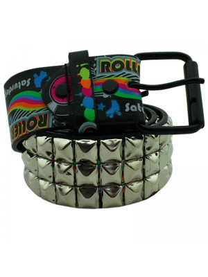 Mens Studded PVC Belt - Roller Disco Design