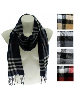 Mens Tartan Print Fashion Scarves - Assorted Colours