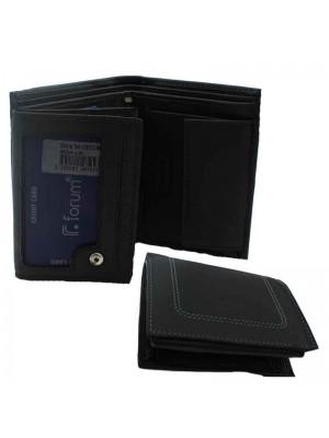 Mens Folding Wallet Genuine Leather - Black