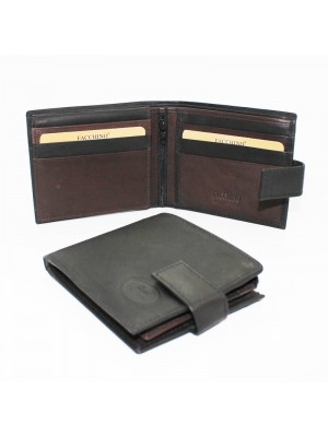 Facchino Men's Black Leather Wallet - Black/Brown