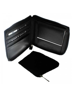 Mens Leather Wallet with Zip - Black