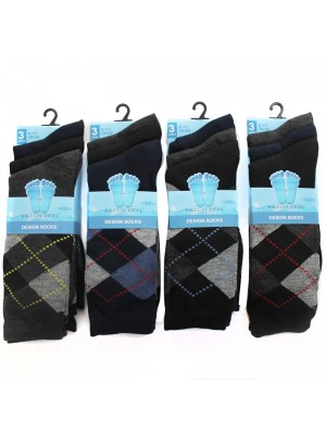 Men's Fresh Feel Argyle Design Socks Dark Colours