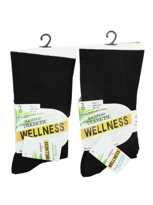 Mens Bamboo Diabetic Non-Elastic Socks - Black