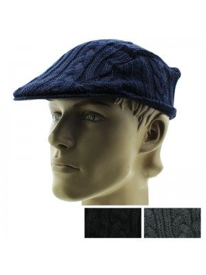 ef22439adcf Mens Cable Knitt Flat Cap - Assorted Colours