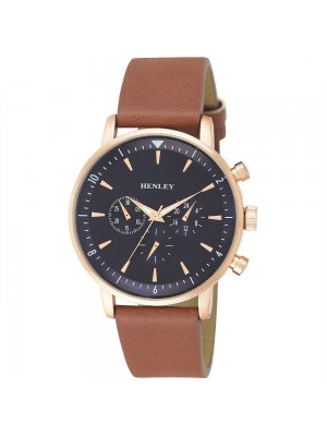 Mens Henley 3 Dial Design Watch with Leather Strap - Rose Gold and Tan