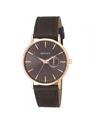 Mens Henley Leather Strap Fashion Watch - Brown & Rose Gold