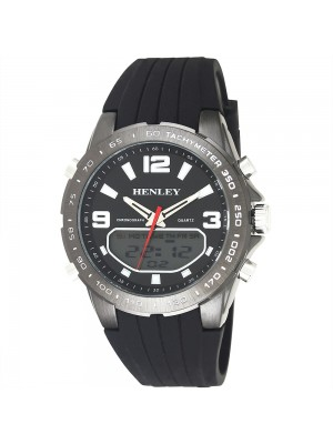 Mens Henley Silicone Strap Multi Functional Watch - Black