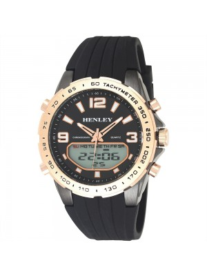 Mens Henley Silicone Strap Multi Functional Watch - Black & Rose Gold