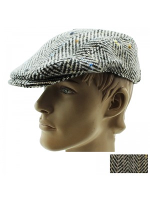 Mens Herringbone Design Flat Cap - Assorted Colours & Sizes