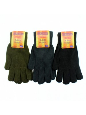 Mens Knitted Thermal Gloves - Assorted Colours