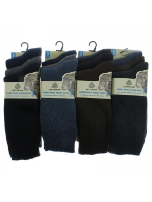 Mens Lambs Wool Blend Socks - Assorted Colours