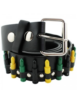 Mens Leather Belt with Plastic Bullets Design - Multicoloured