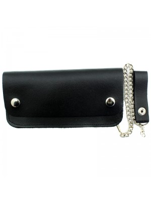 Mens Leather Biker Wallet with Chain - Black