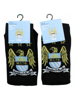 Mens Manchester City Football Club Official Socks - Black