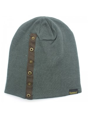 Mens Plain Beanie Hat with Buttons - Grey